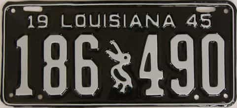 RESTORED 1945 Louisiana license plate for sale