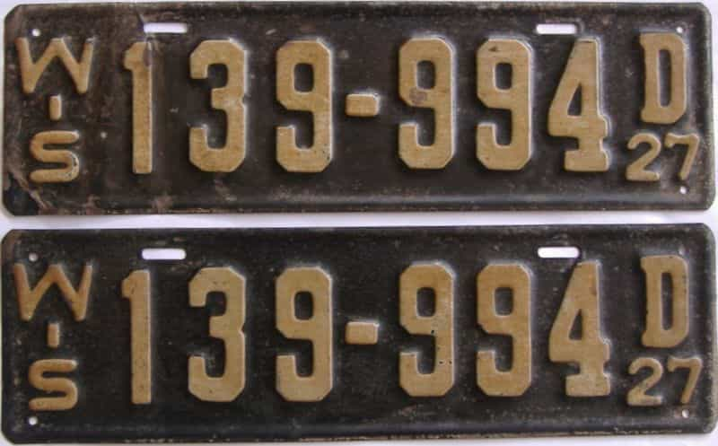 YOM 1927 Wisconsin  (Pair) license plate for sale