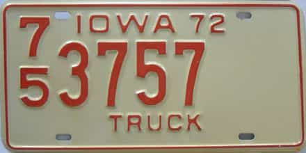 1972 Iowa  (Truck) license plate for sale