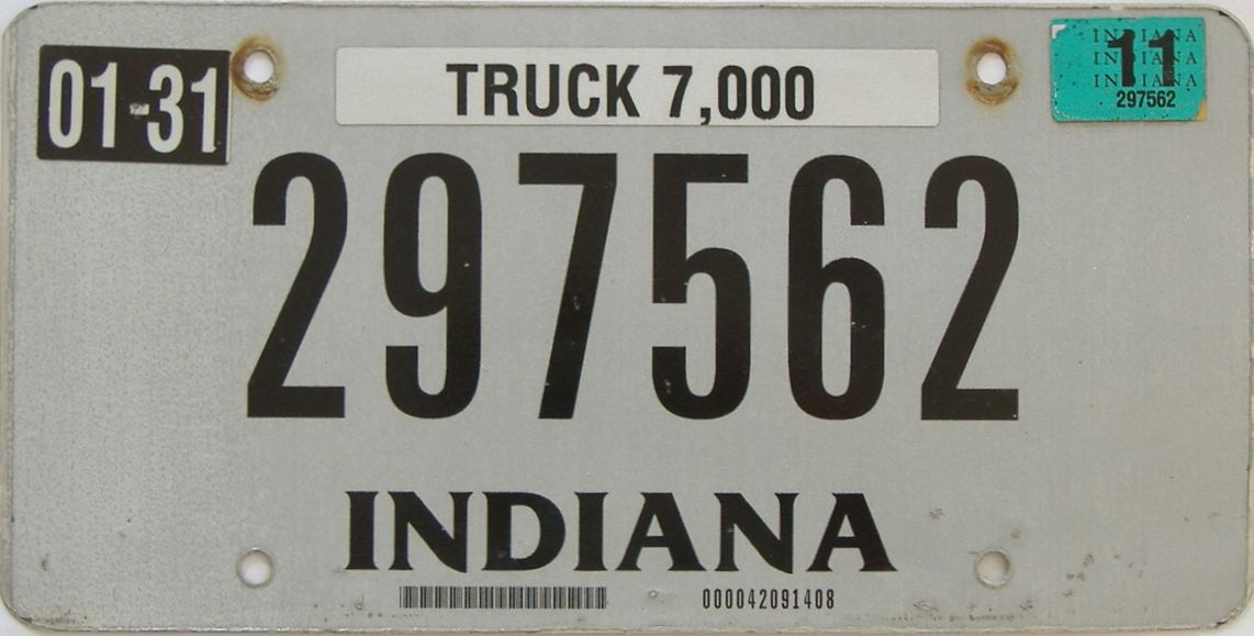 2011 Indiana (Truck) license plate for sale