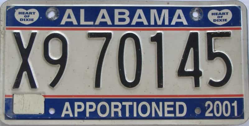 2001 Alabama (Non Pass) license plate for sale
