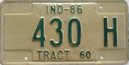 1986 Indiana license plate for sale