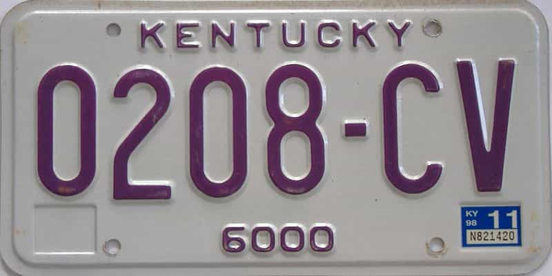 1998 Kentucky license plate for sale