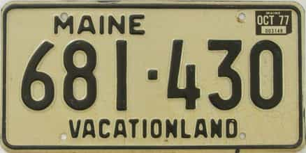 1977 Maine (Single) license plate for sale