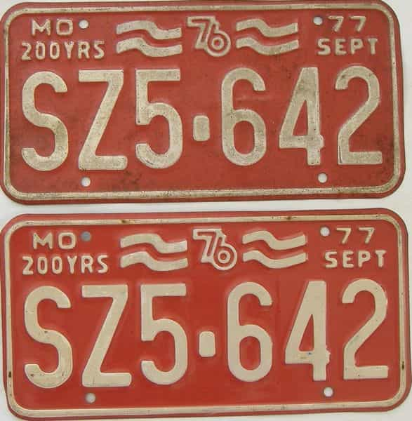 1977 Missouri (Pair) license plate for sale