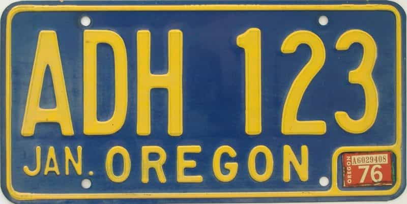 1976 OR (Natural Single) license plate for sale