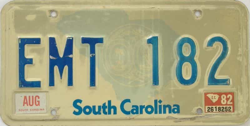 1982 SC license plate for sale