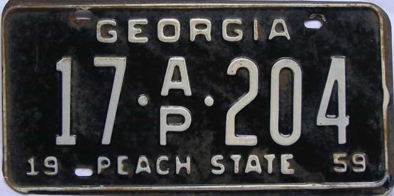 YOM 1959 GA (Truck) license plate for sale