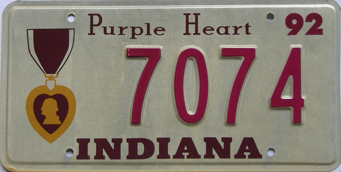 1992 Indiana license plate for sale