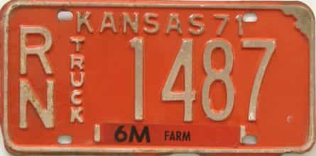 1971 Kansas (Truck) license plate for sale
