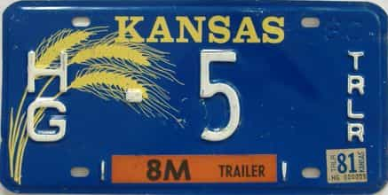 1981 Kansas (Trailer) license plate for sale