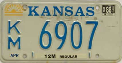 1988 Kansas license plate for sale