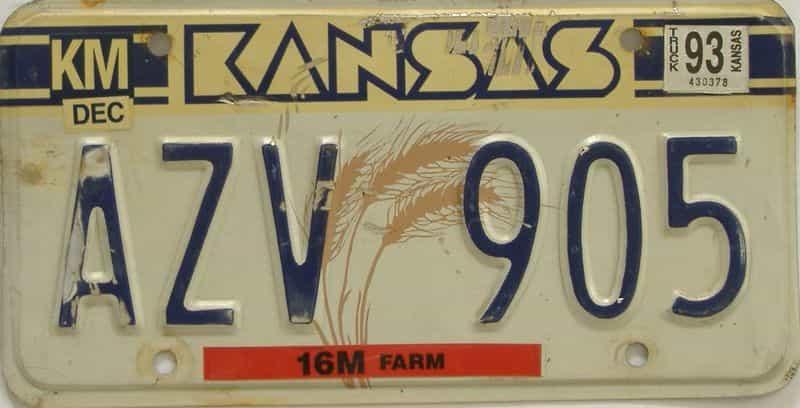1993 KS license plate for sale