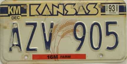 1993 Kansas license plate for sale