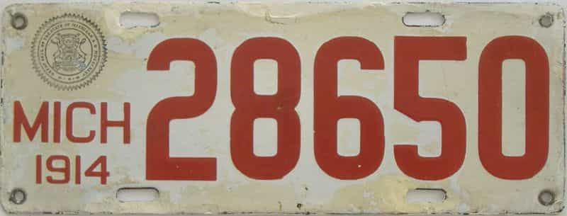 1914 Michigan (Touched Up) license plate for sale