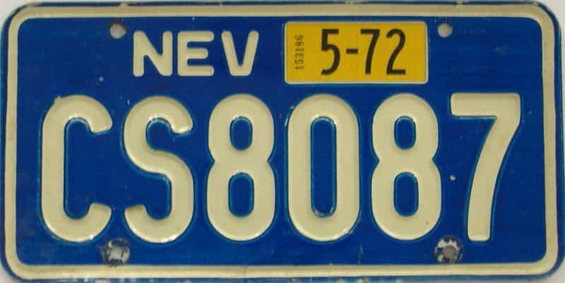 1972 NV (Single) license plate for sale
