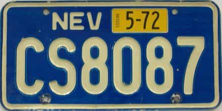 1972 Nevada (Single) license plate for sale
