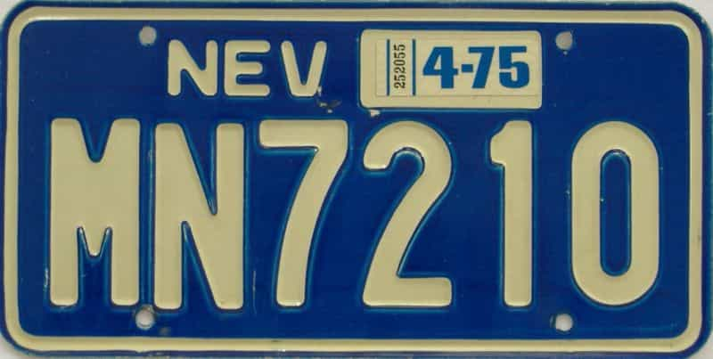 1975 NV (Single) license plate for sale