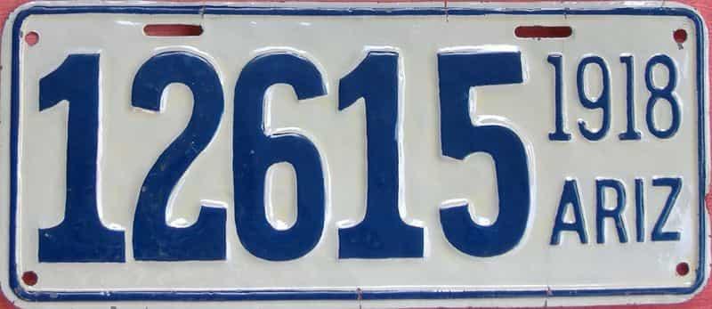 1918 Arizona (Very Nice Older Repaint) license plate for sale