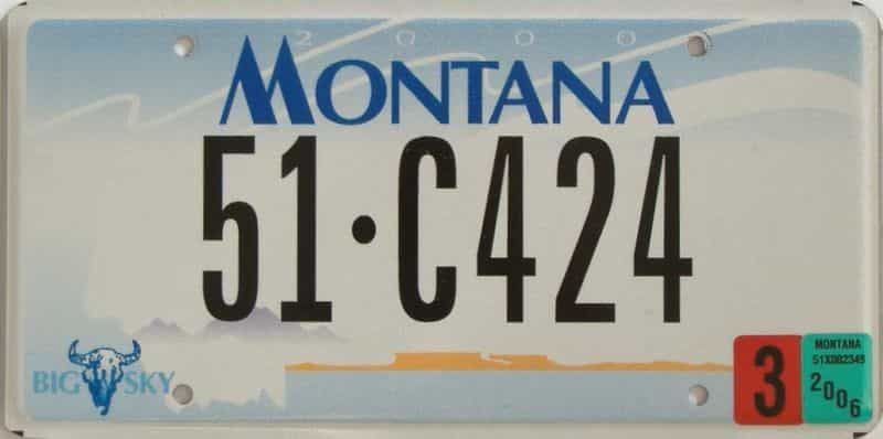 2006 Montana  (Single) license plate for sale