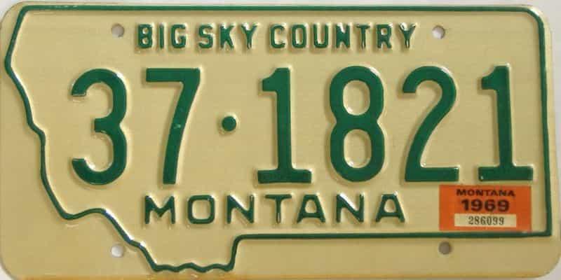1969 Montana (Single) license plate for sale