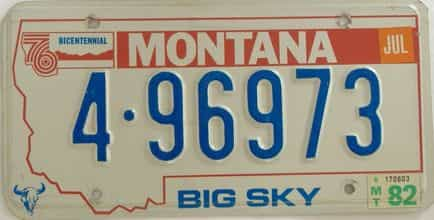 1982 Montana (Single) license plate for sale