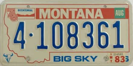 1983 Montana (Single) license plate for sale