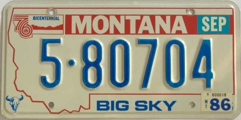 1986 Montana  (Single) license plate for sale