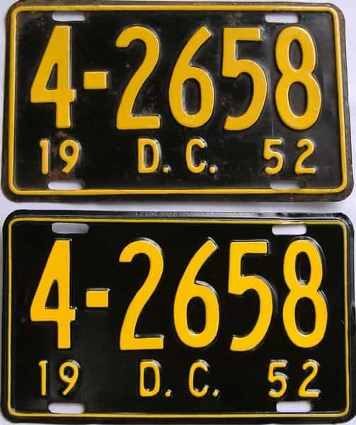 1952 DC (Relettered) license plate for sale