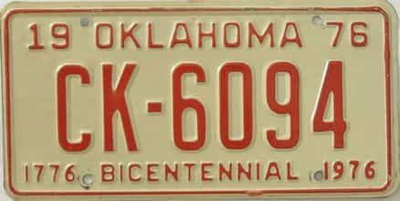 1976 Oklahoma license plate for sale