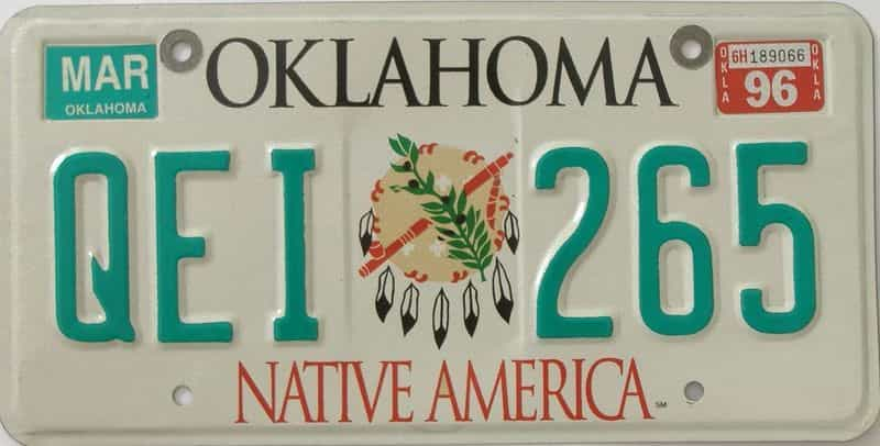 1996 OK (Natural) license plate for sale
