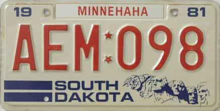 1981 South Dakota (Single) license plate for sale