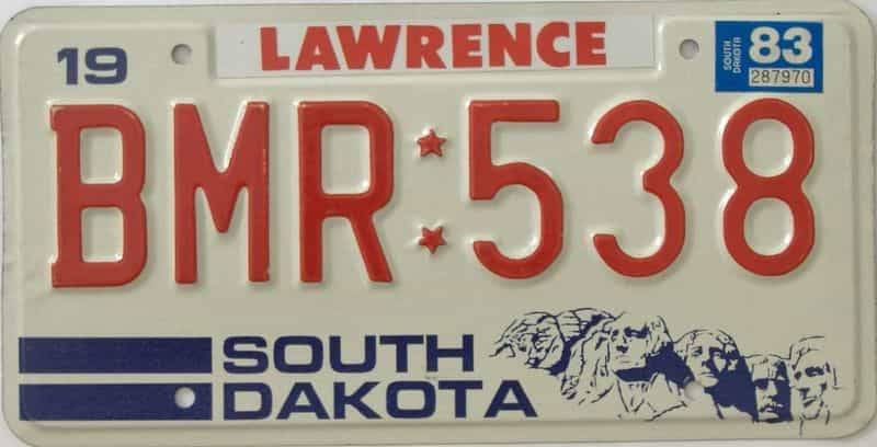 1983 South Dakota (Single) license plate for sale