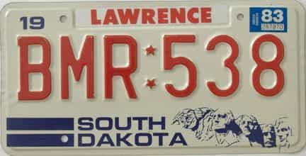 1983 South Dakota (Single) license plate for sale