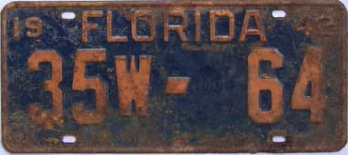 1942 Florida license plate for sale