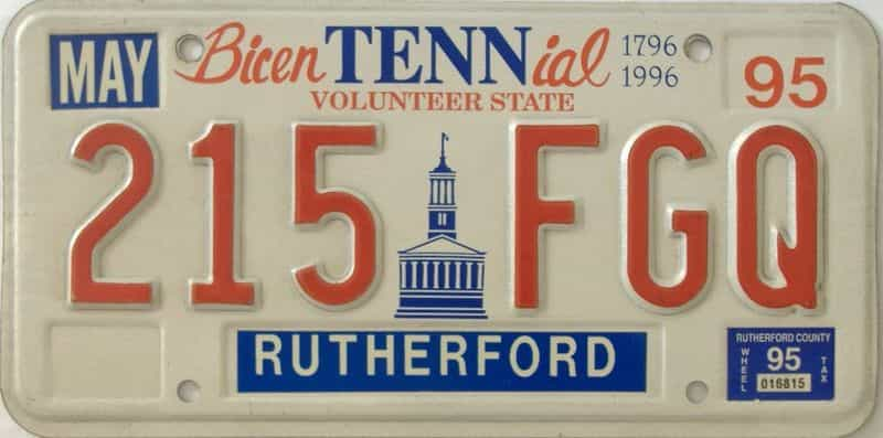 1995 Tennessee license plate for sale