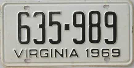 1969 Virginia (Single) license plate for sale