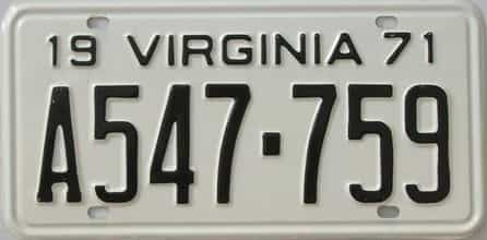 1971 Virginia (Single) license plate for sale