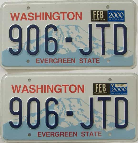 2000 Washington  (Natural Pair) license plate for sale