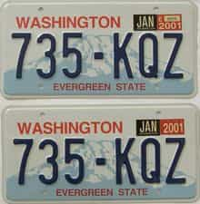 2001 Washington (Natural Pair) license plate for sale