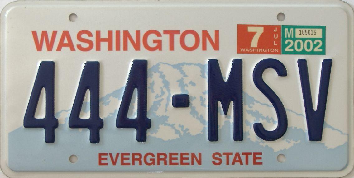 2002 Washington (Single) license plate for sale