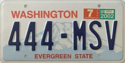 2002 Washington (Single) license plate for sale