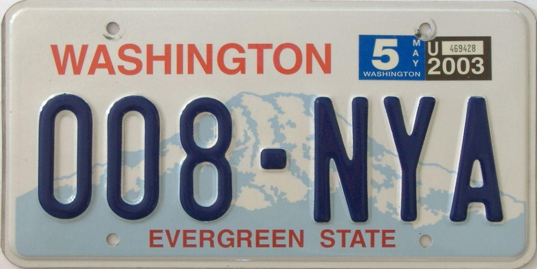 2003 Washington (Natural Single) license plate for sale