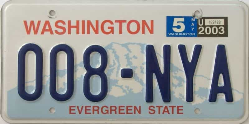 2003 Washington (Natural Single) license plate for sale