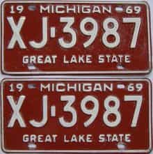 1969 Michigan (Pair) license plate for sale