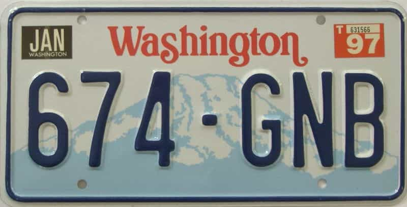 1997 Washington (Natural Single) license plate for sale