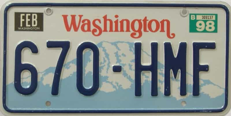 1998 Washington (Natural Single) license plate for sale