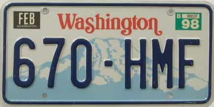 1998 Washington  (Natural Single) license plate for sale