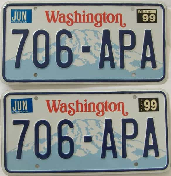 1999 Washington (Natural Pair) license plate for sale