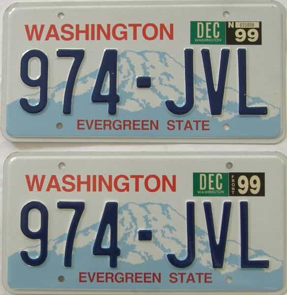 1999 Washington (Pair) license plate for sale